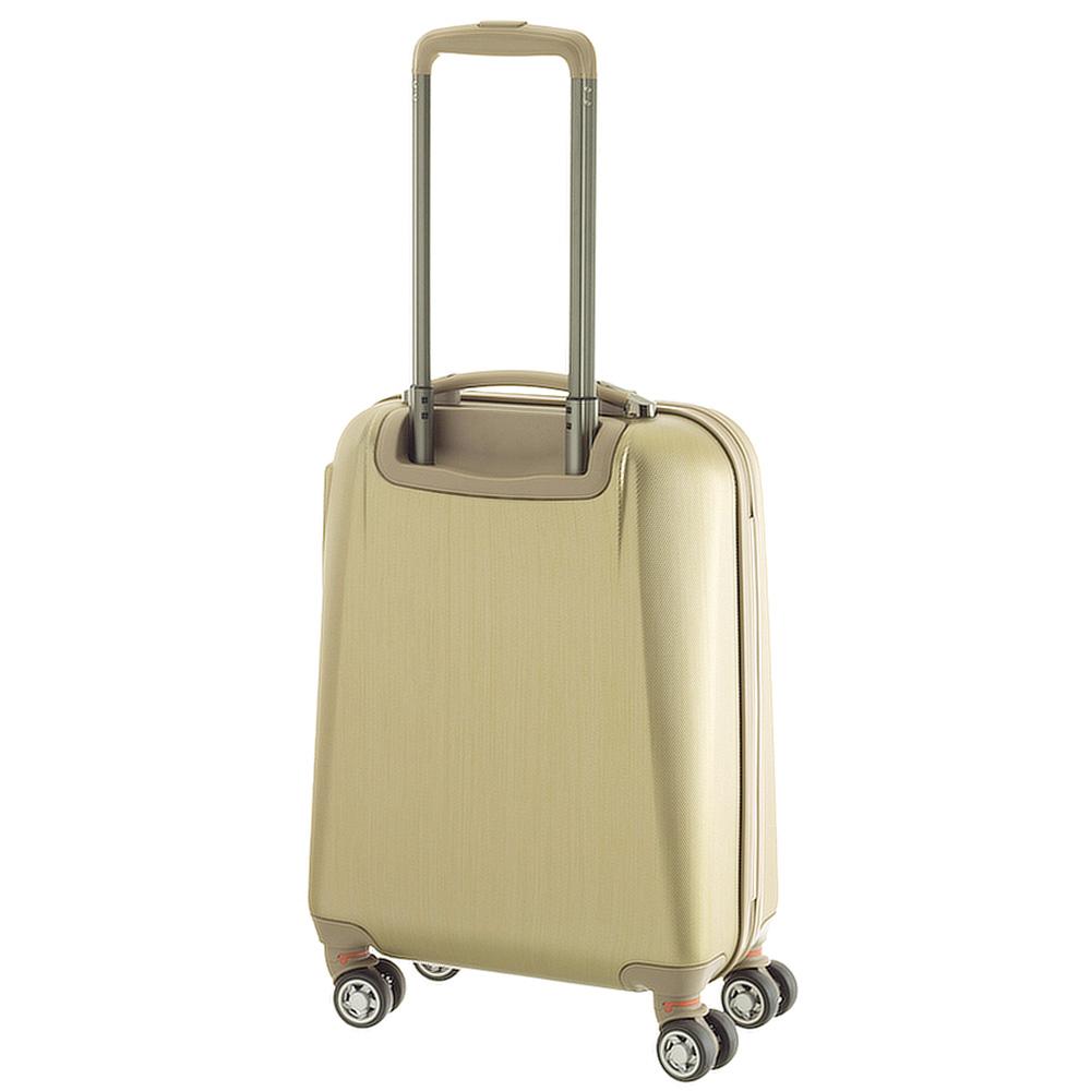 Маленький чемодан 55х35х20см March New Carat с корпусом золотого цвета из поликарбоната с пластиком ABS