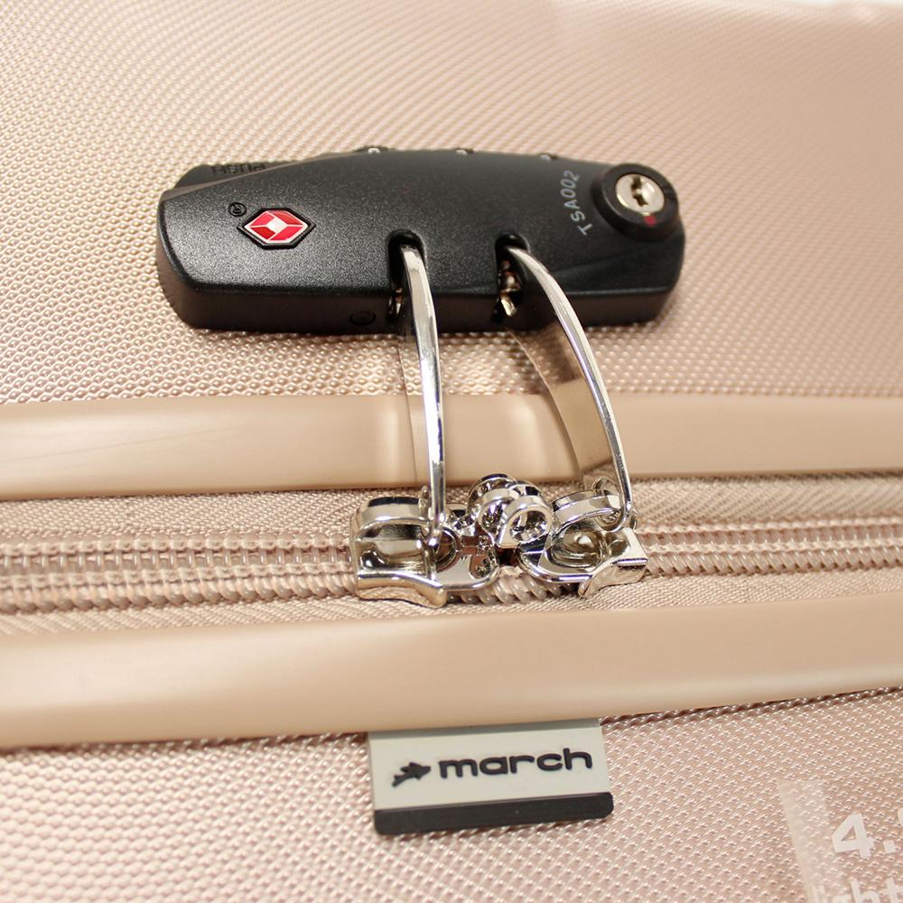 Бежевый большой чемодан 76х30х48см March Bumper с замком блокировки TSA