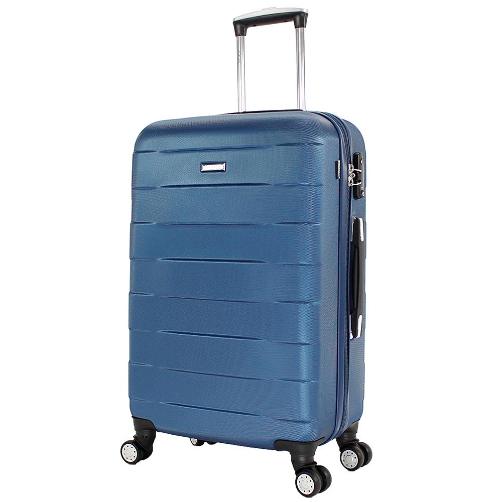 Синий среднего размера чемодан 66x42x26см March Bumper с корпусом из пластика