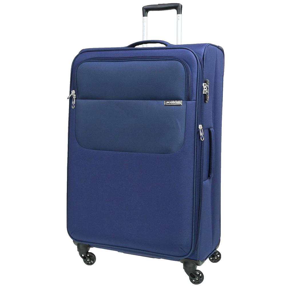 Синий большой чемодан 77х30х47см March Carter SE с 4х колесной системой