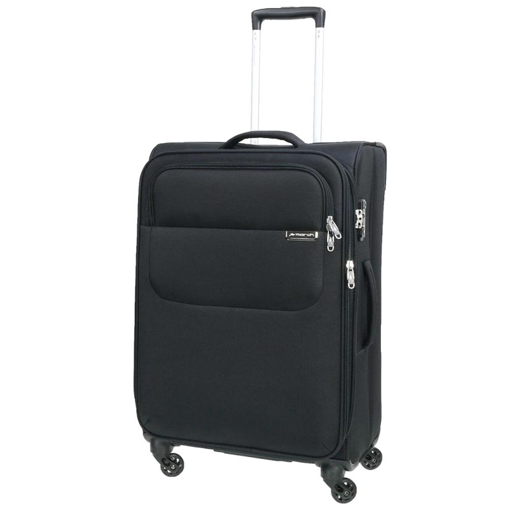 Черный чемодан 67x42x27см March Carter SE среднего размера с функцией расширения