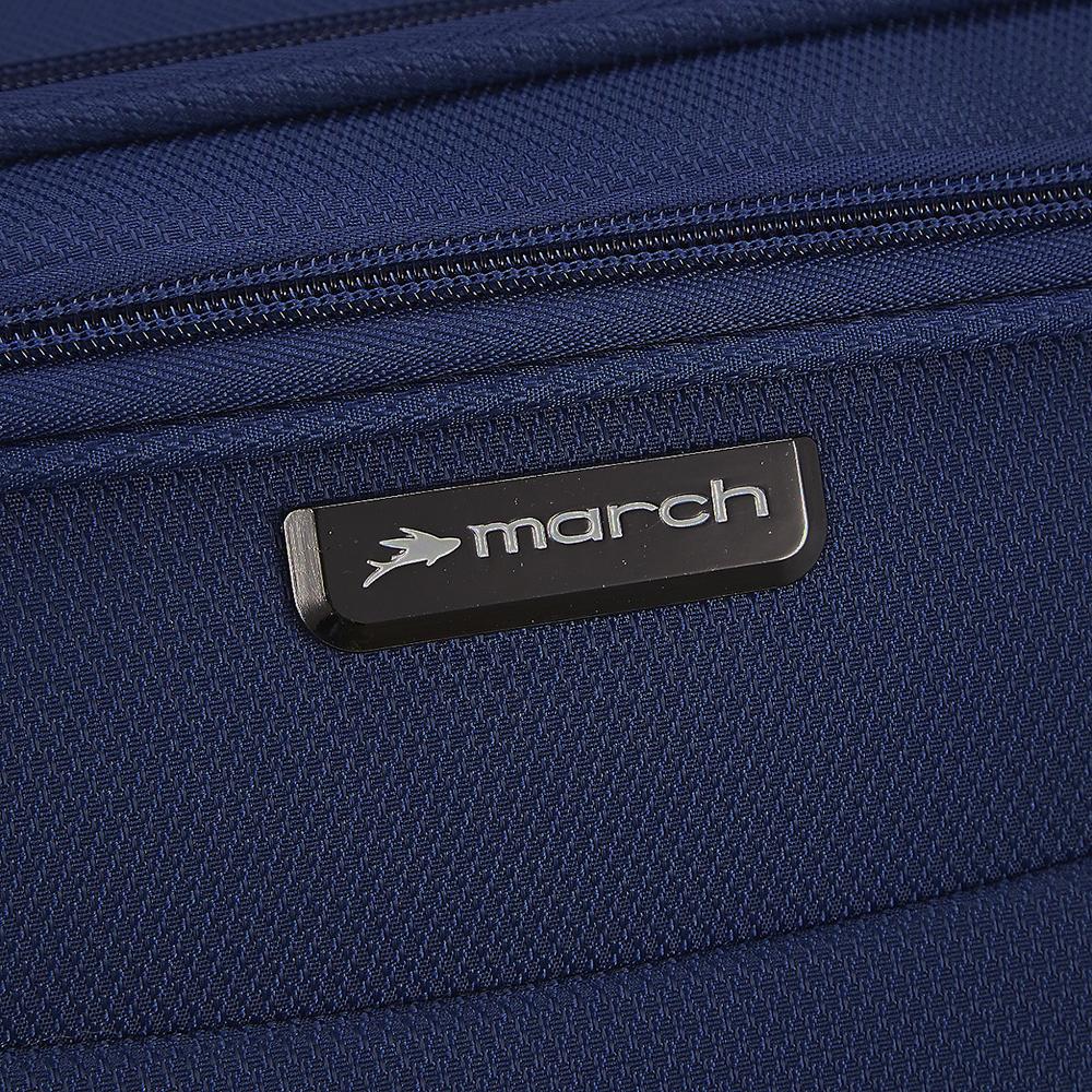 Синий чемодан среднего размера 68x26x42см March Delta с 4х колесной системой