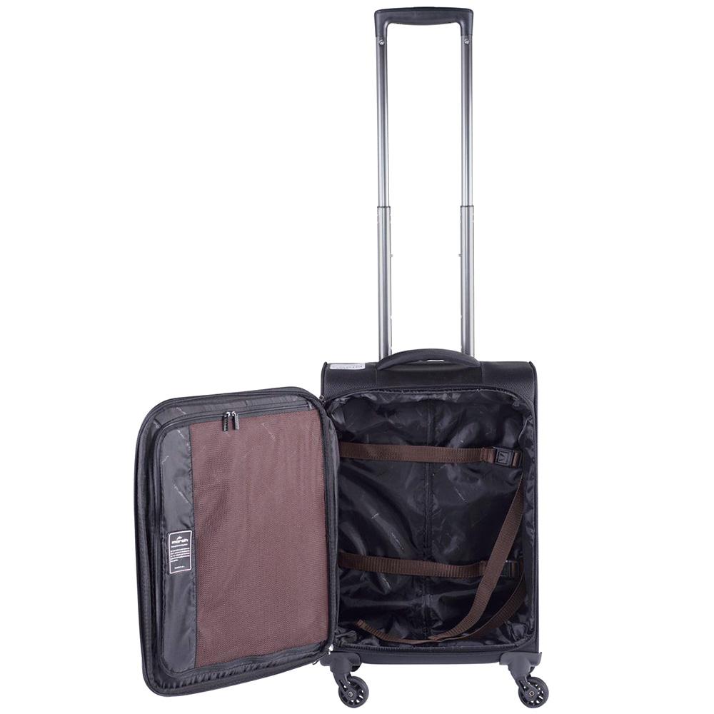 Маленький черный чемодан 55х35х20см March Lite с телескопической ручкой