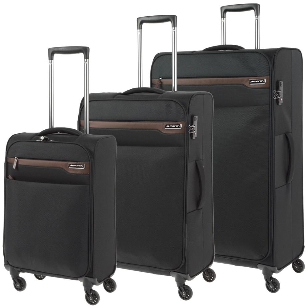 Набор чемоданов March Lite с корпусом черного цвета