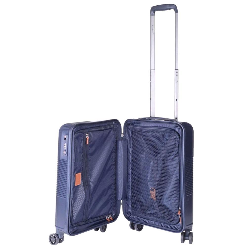 Синий чемодан 55х35х21,5см March Avenue маленького размера на молнии