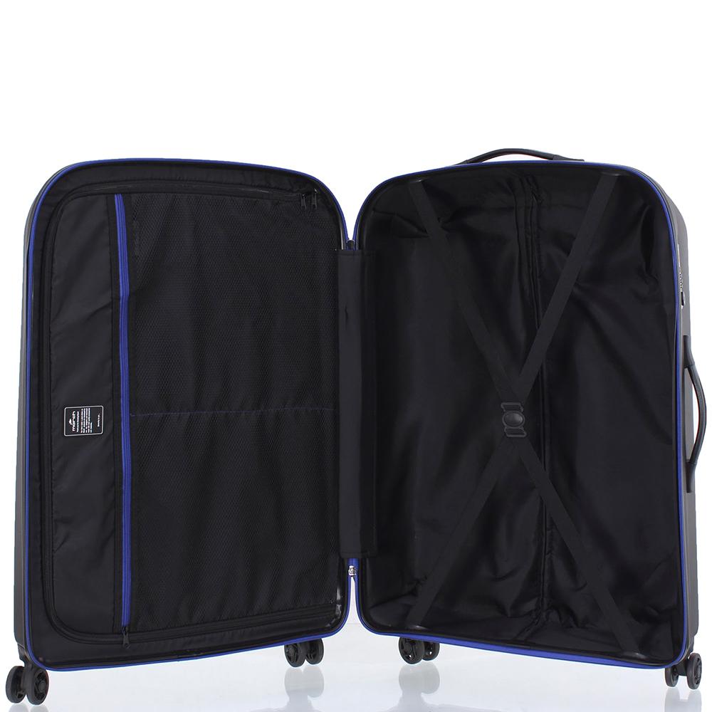 Набор чемоданов March Rocky с корпусом черного цвета с синими вставками