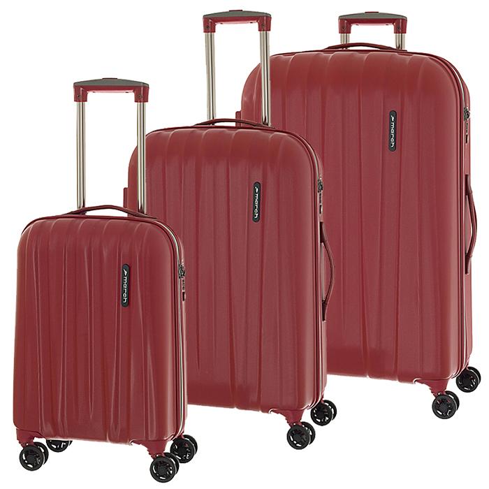 Набор красных чемоданов March Rocky с замком блокировки TSA