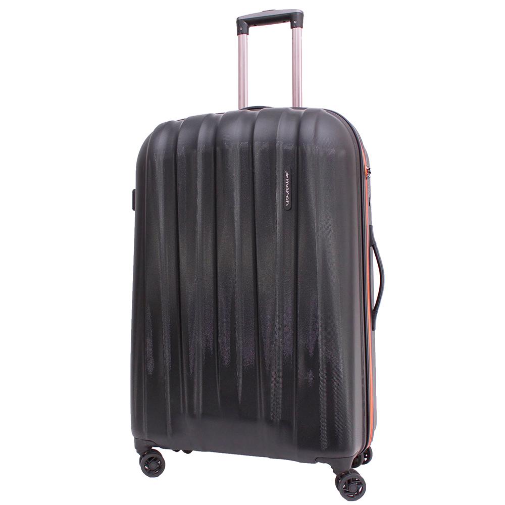 Среднего размера чемодан 68x45x23см March Rocky черного цвета на молнии