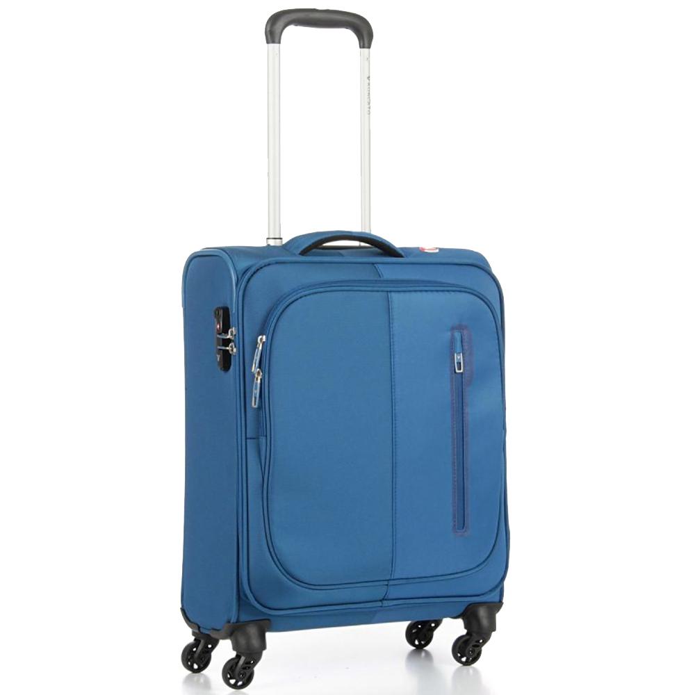 Чемодан синего цвета 55х40х20см Roncato Roma с 4х колесной системой
