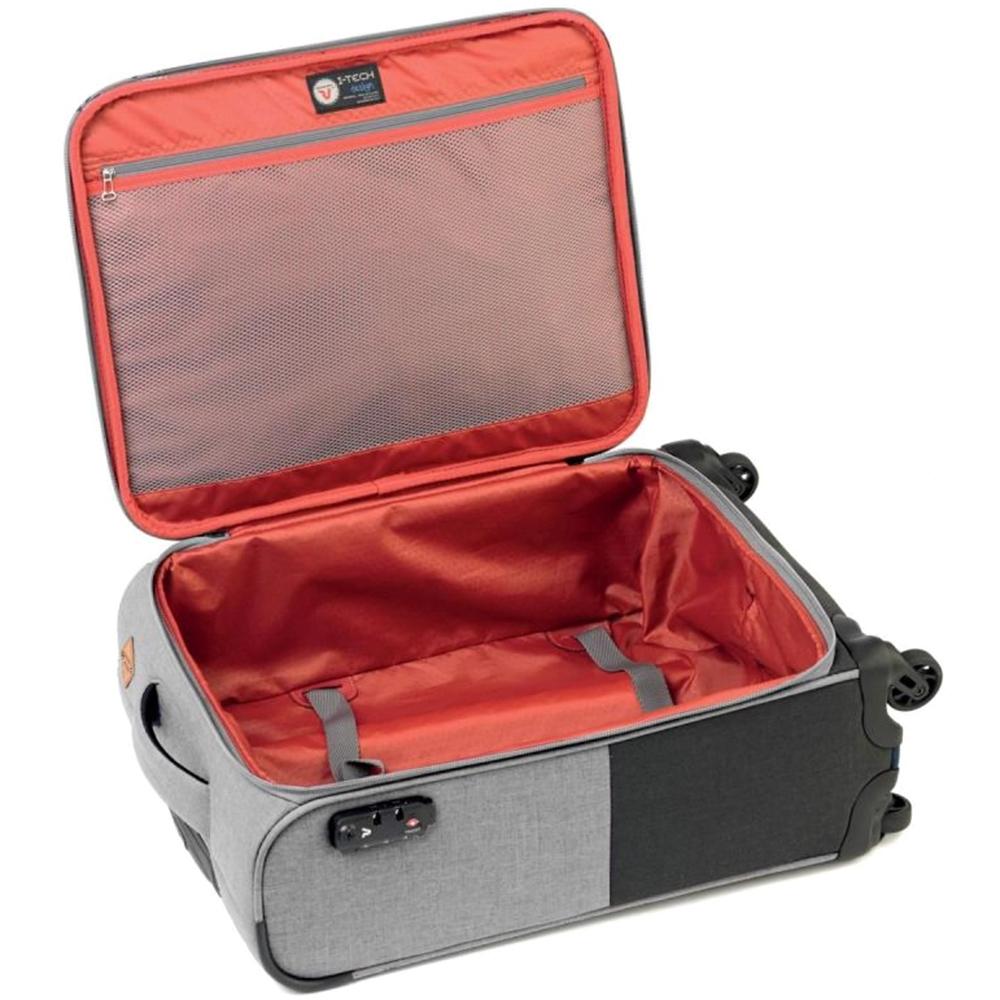 Серо-черный чемодан 55x40х20см Roncato Adventure размера ручной клади
