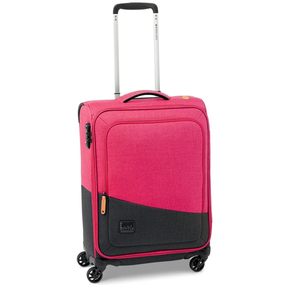 Маленький розово-черный чемодан 55x40х20см Roncato Adventure на 4х колесах