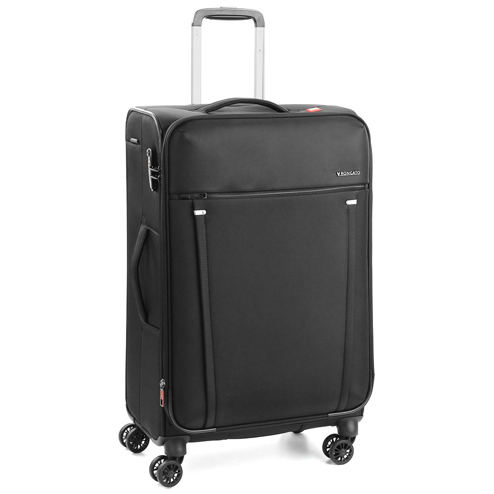 Среднего размера черный чемодан 68x43x26,5-30,5см Roncato Zero Gravity с кодовой блокировкой TSA