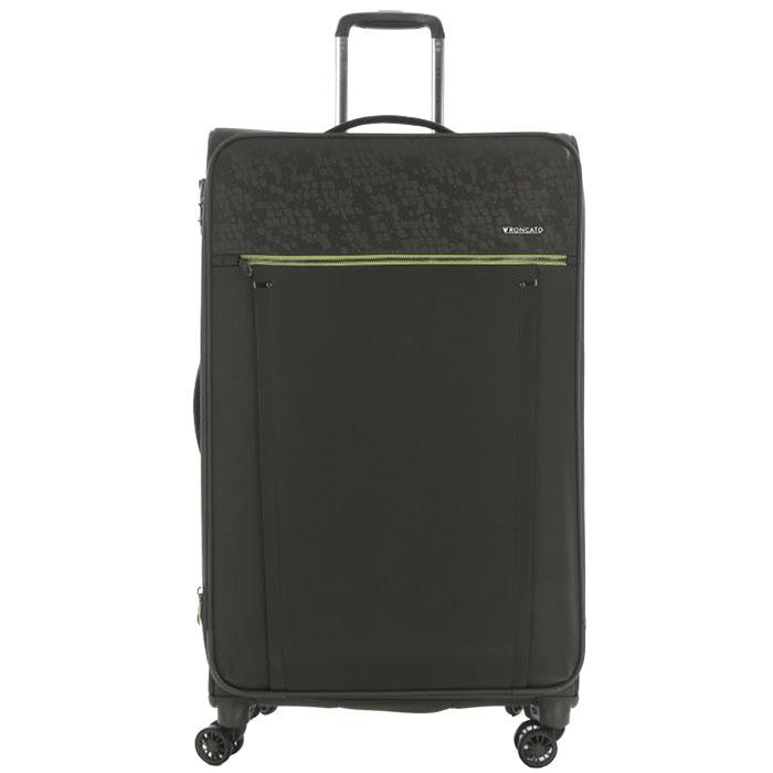Зеленый большой чемодан 78х48х29-32см Roncato Zero Gravity Deluxe с функцией расширения