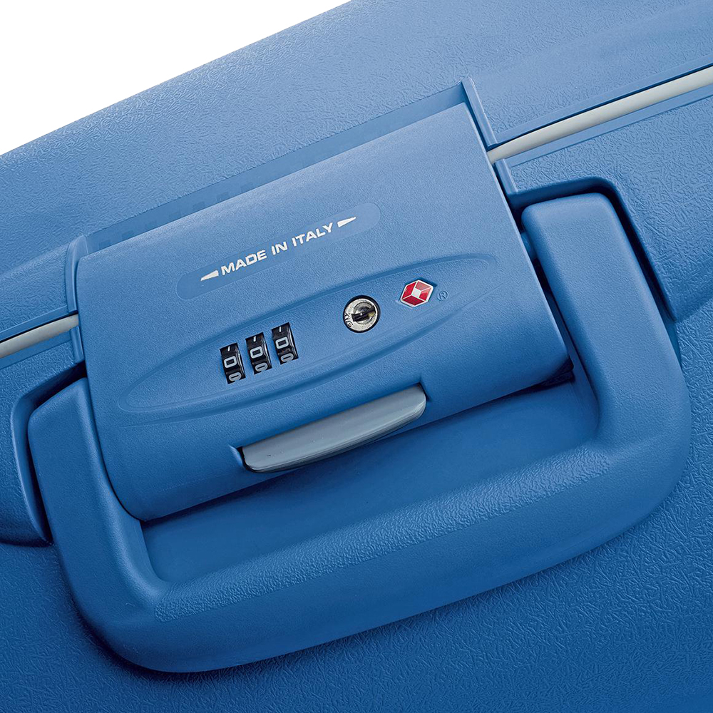 Синий чемодан 75х53х30см Roncato Light большого размера из полипропилена