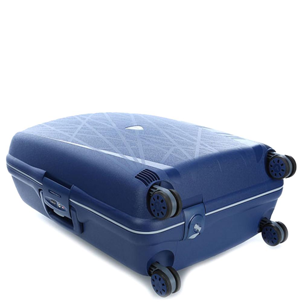 Среднего размера синий чемодан 68x48x27см Roncato Light с 4х колесной системой