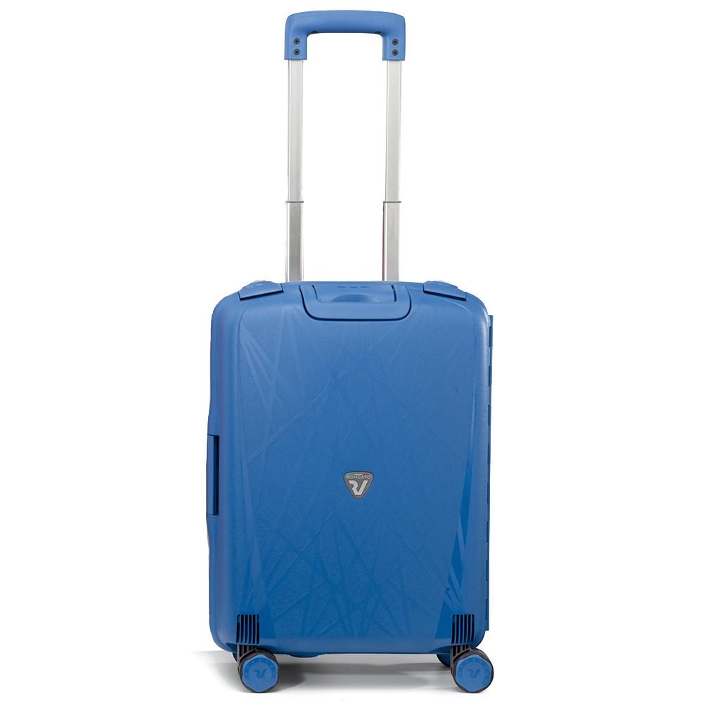 Маленький чемодан синего цвета 55х40х20см Roncato Light на 4х колесах