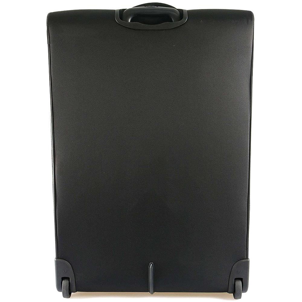Большой чемодан черного цвета 78х48х29-32см Roncato Ironik закрывается на молнию