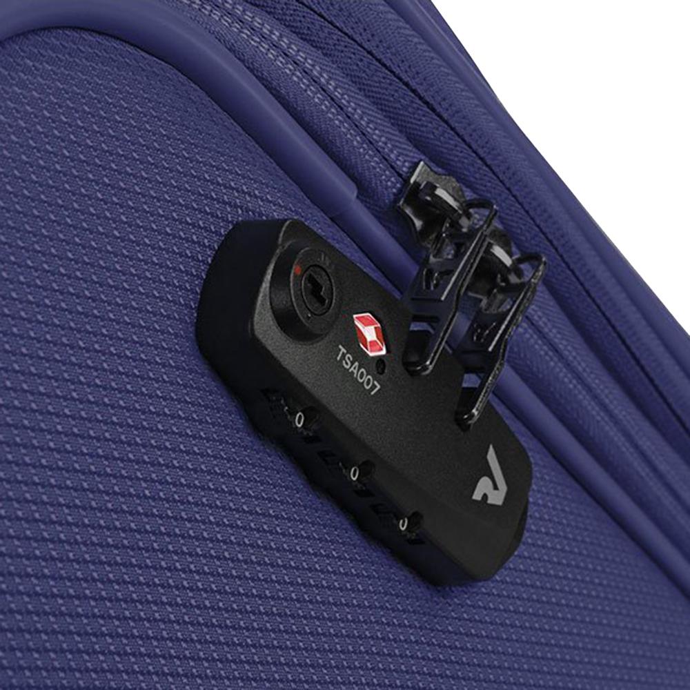 Синий чемодан большого размера 78х48х29-32см Roncato Ironik с замком блокировки TSA