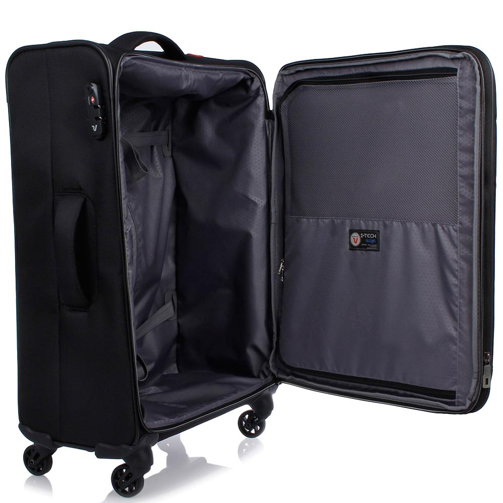 Большой черный чемодан 78х48х29-32см Roncato Ironik с 4х колесной системой