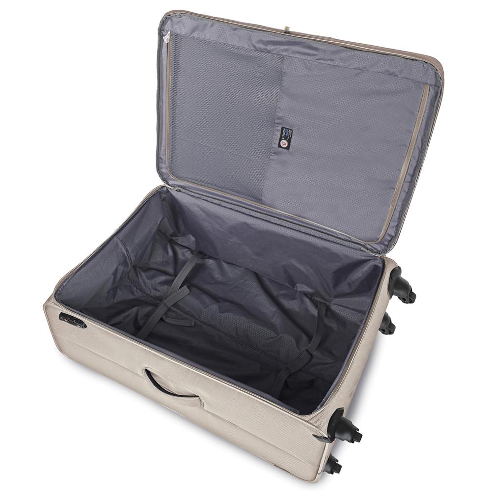 Бежевый чемодан среднего размера 67x44x27-31см Roncato Ironik на молнии
