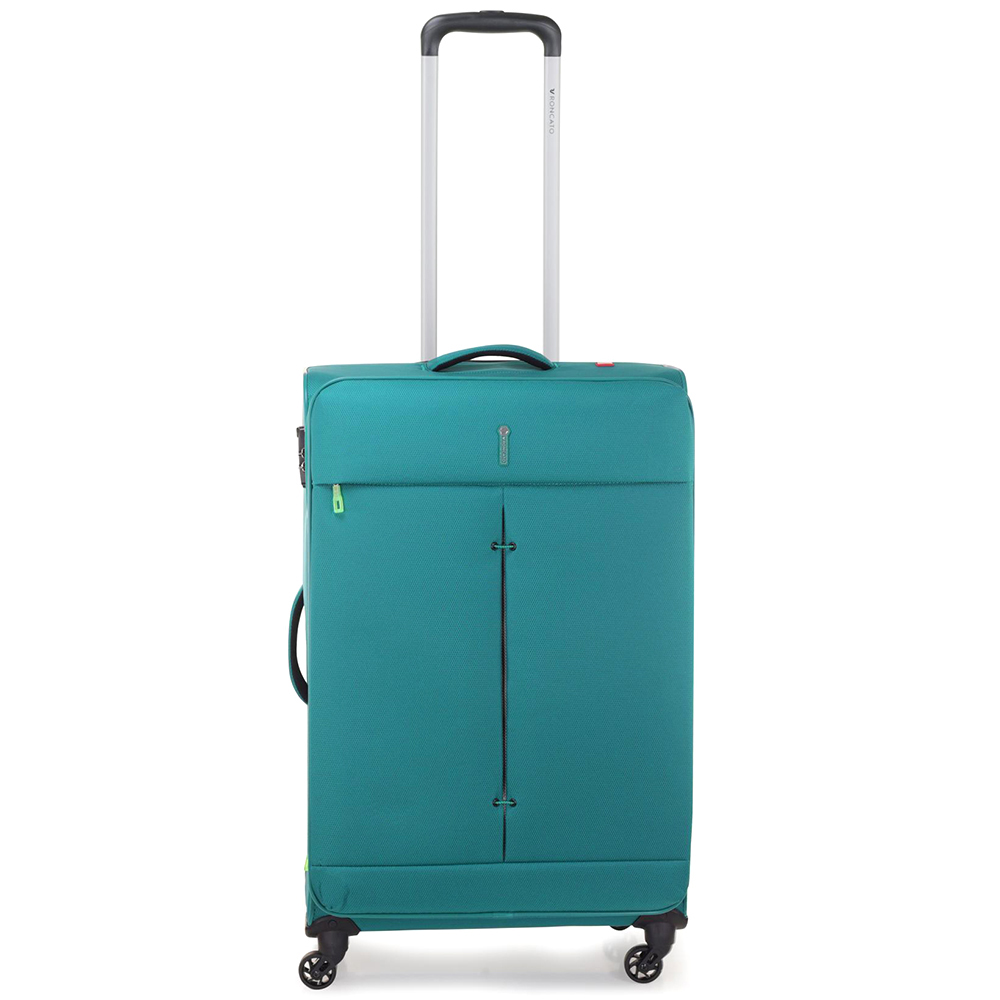 Зеленый чемодан 67x44x27-31см Roncato Ironik среднего размера с функцией расширения