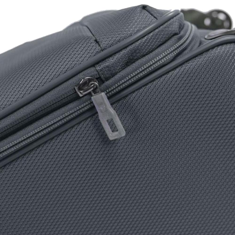 Маленький чемодан серого цвета 55х40х20-23см Roncato Ironik закрывается на молнию