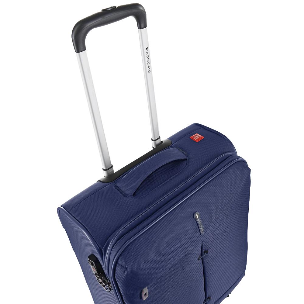 Маленький чемодан синего цвета 55х40х20-23см Roncato Ironik с замком блокировки TSA