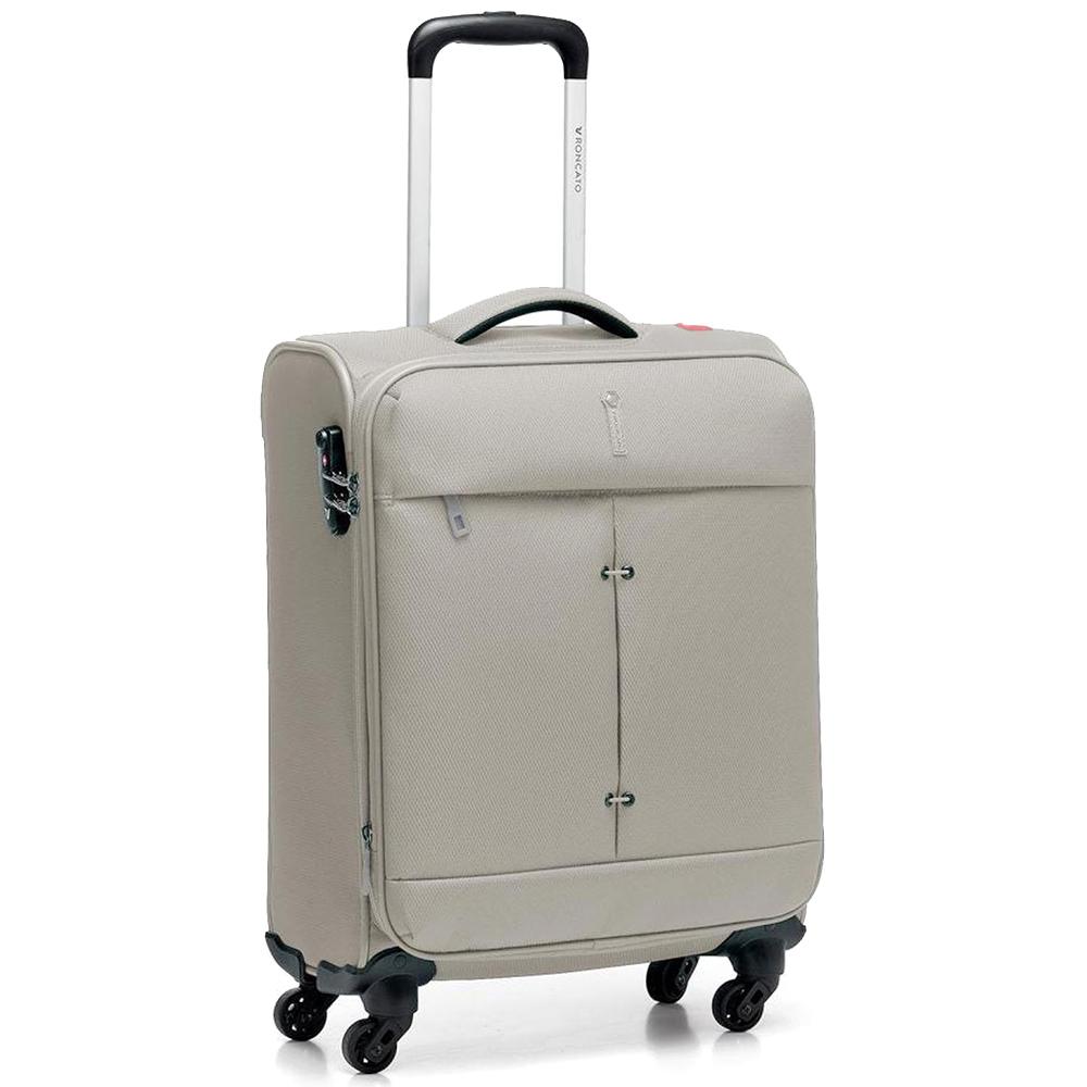 Маленький бежевый чемодан 55х40х20-23см Roncato Ironik с функцией расширения