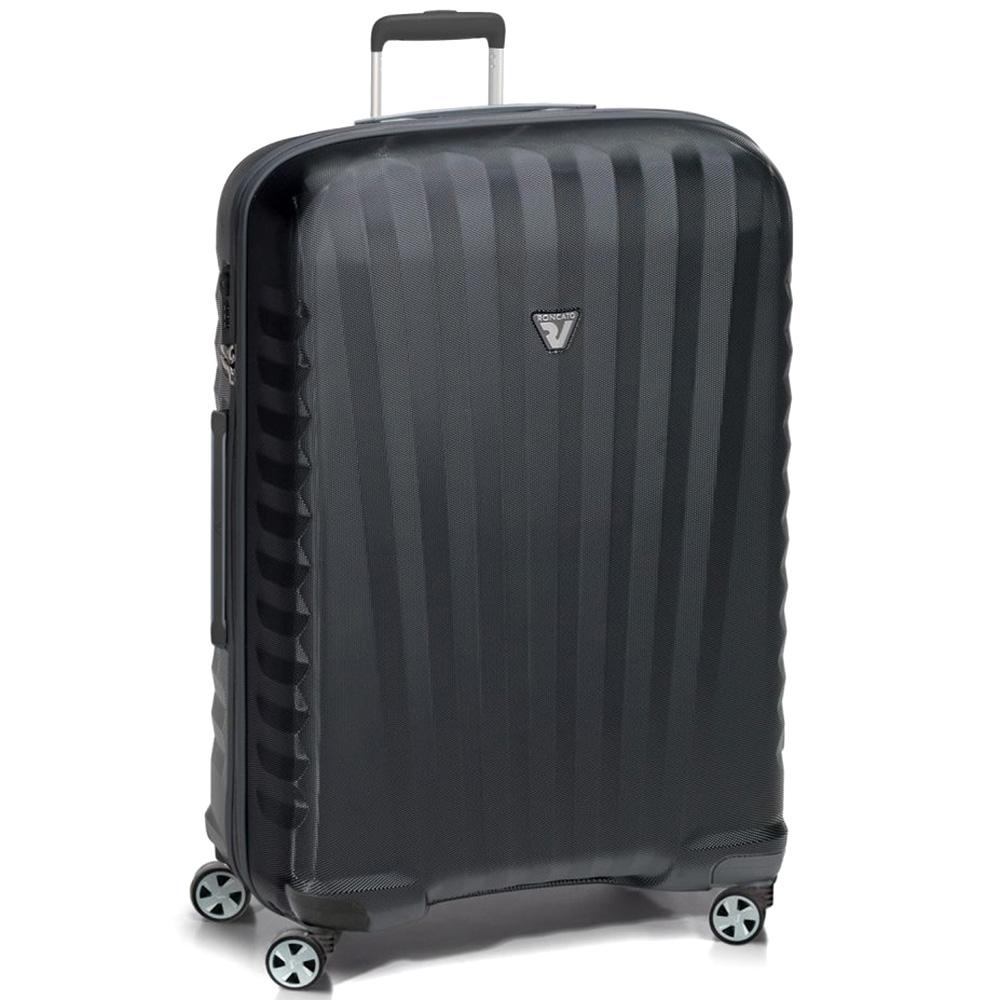 Черный большой чемодан 82x48x30-32см Roncato Uno ZSL Premium из поликарбоната