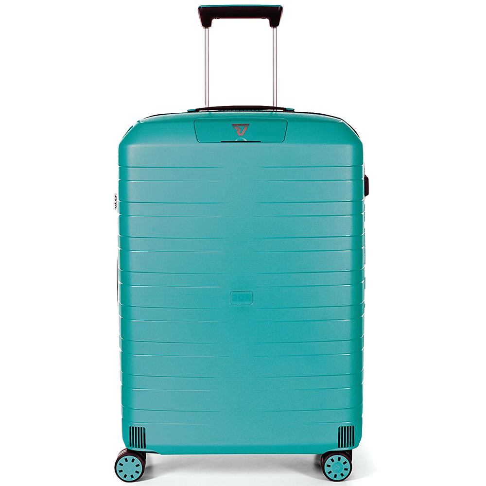 Средний чемодан бирюзового цвета 69x46x26см Roncato Box на молнии с замком блокировки TSA