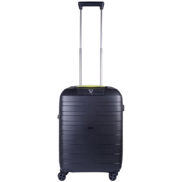 Черный маленький чемодан на молнии 55х40х20см Roncato Box с телескопической ручкой