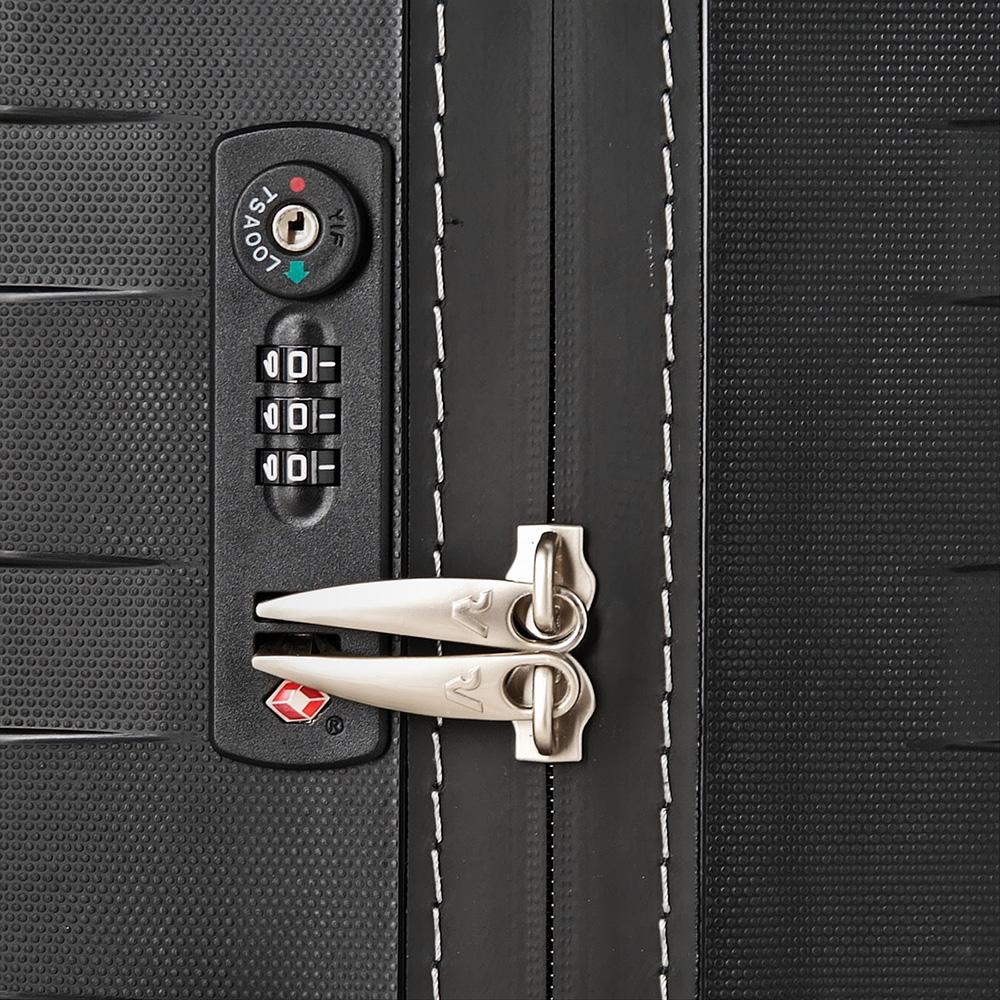 Чемоданы для путешествий Roncato Box черного цвета с белыми вставками на молнии