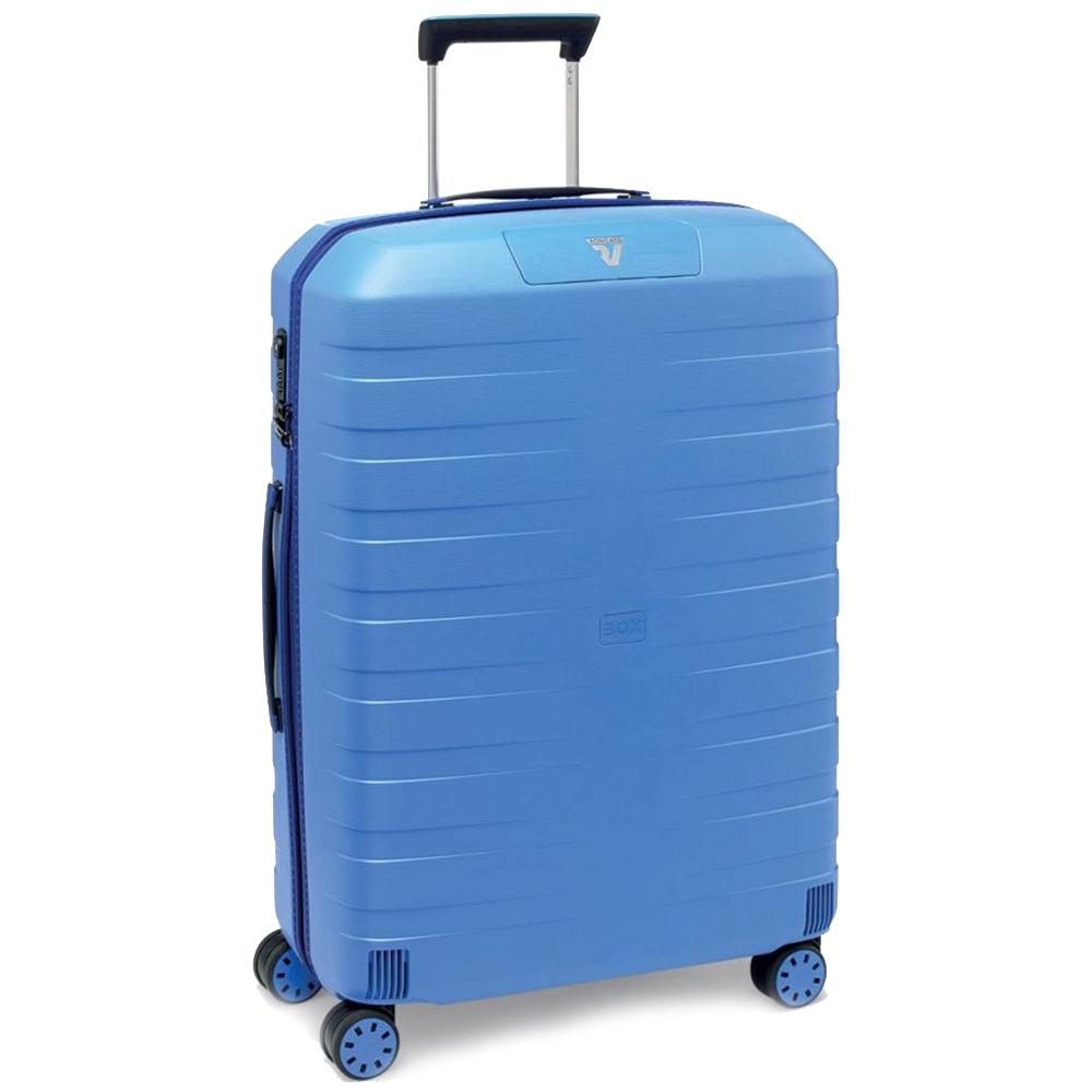 Синий чемодан 78х50х30см Roncato Box 2.0 большого размера с выдвижной ручкой