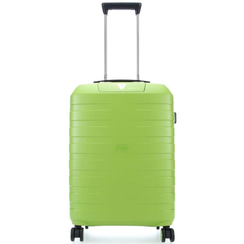 Маленький салатовый чемодан 55х40х20см Roncato Box 2.0 с выдвижной ручкой