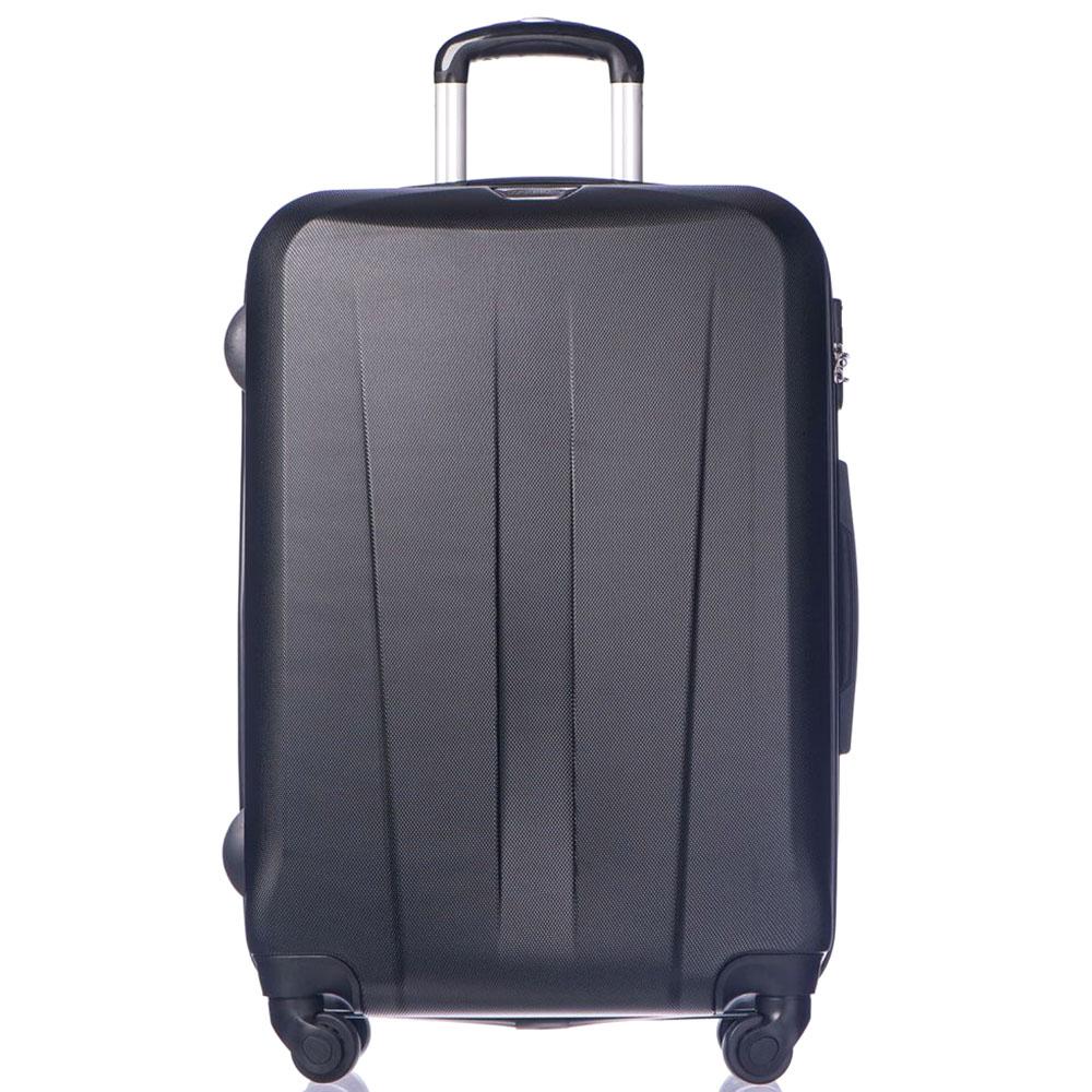 Большой черный чемодан 76,5х53х29см Puccini Paris с телескопической ручкой