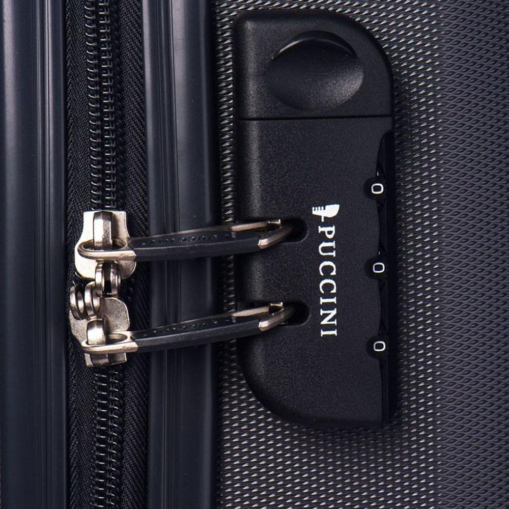 Черный чемодан большого размера 76,5х53х29см Puccini Paris с кодовым замком