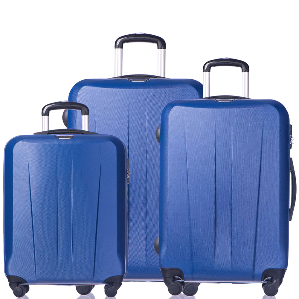 Набор синих чемоданов Puccini Paris с корпусом из пластика