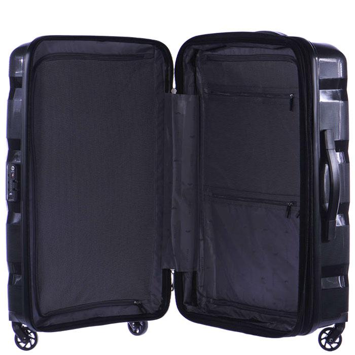 Средний черный чемодан 64x46x26см Puccini PP007 с корпусом из полипропилена