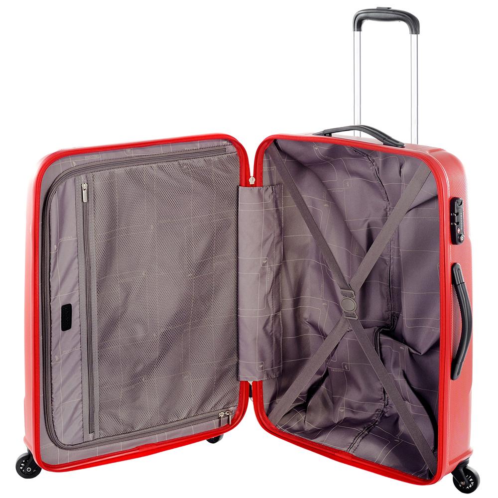 Красный чемодан 70x50x28см Puccini PC015 среднего размера на молнии