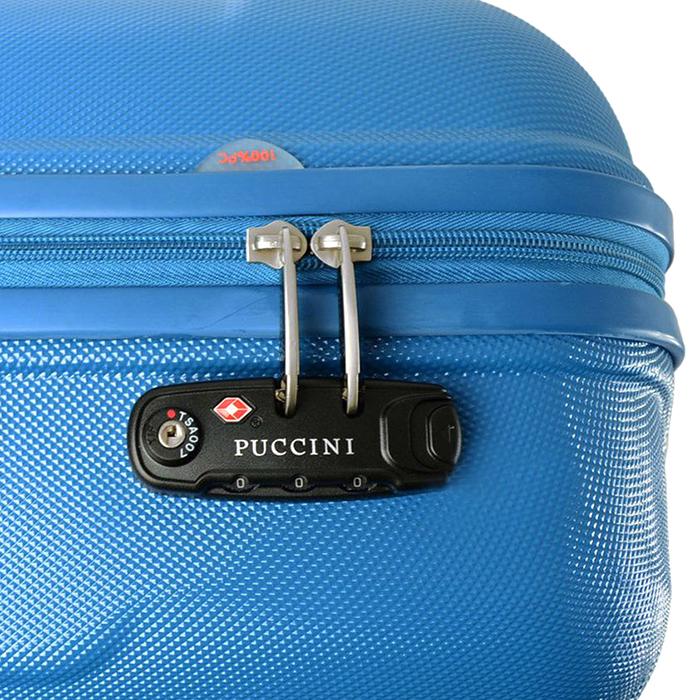 Среднего размера чемодан 70x50x28см Puccini PC015 с корпусом голубого цвета