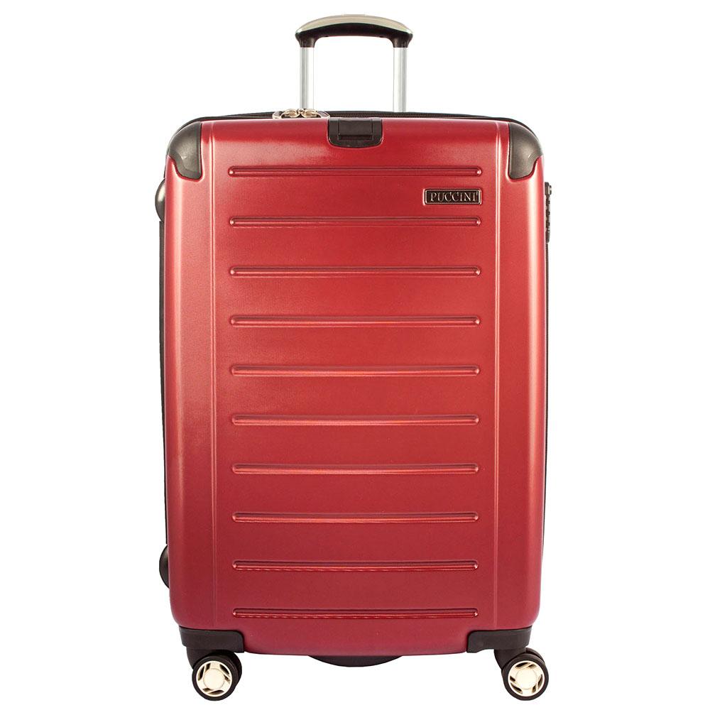 Большой бордовый чемодан 79x53x33см Puccini PC016 с функцией расширения