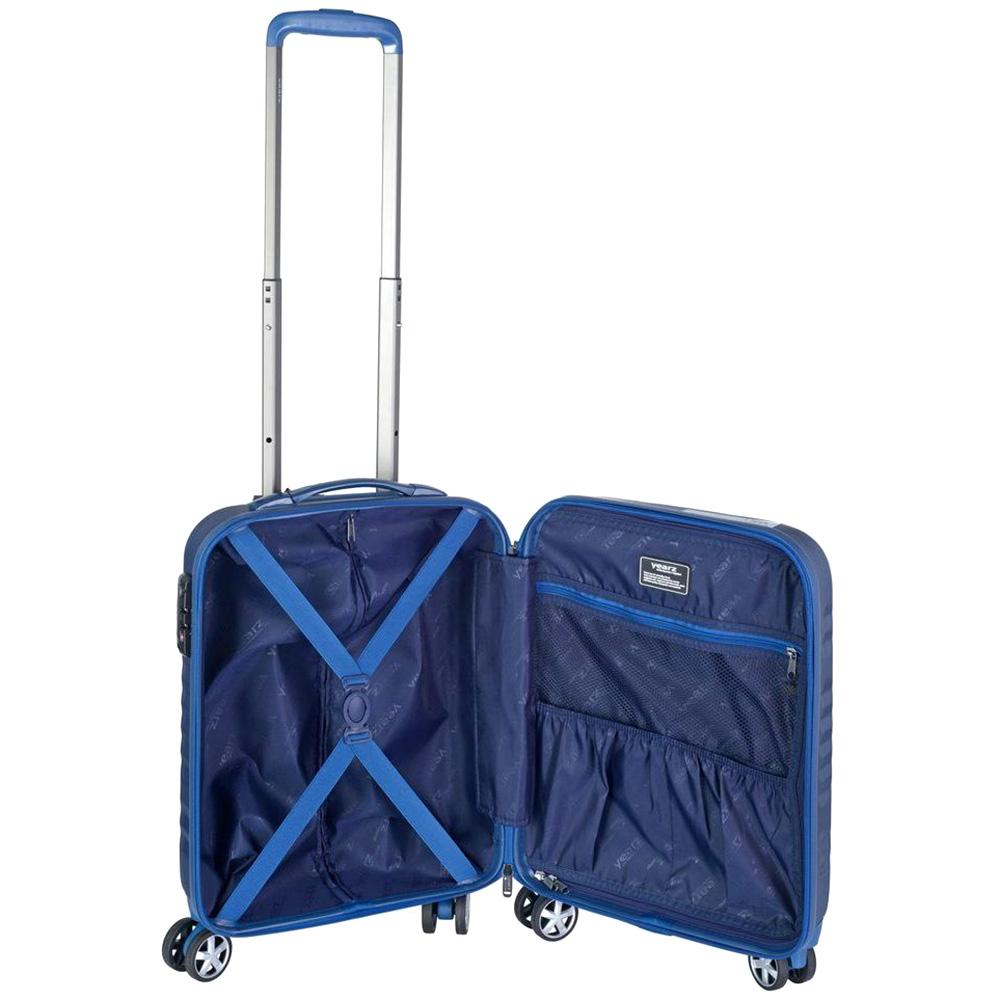 Маленький синий чемодан 55х35х20см March Fly с замком блокировки TSA