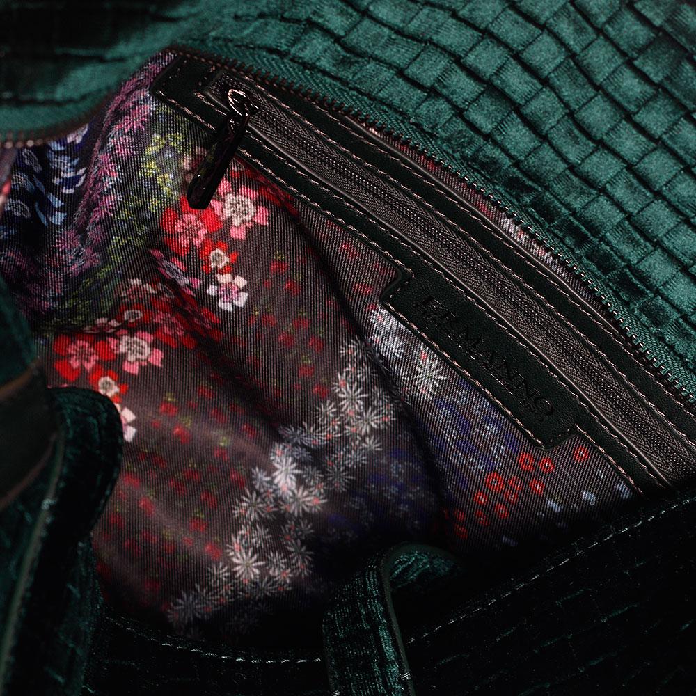 Дорожная вельветовая сумка Ermanno Ermanno Scervino Daria изумрудного цвета