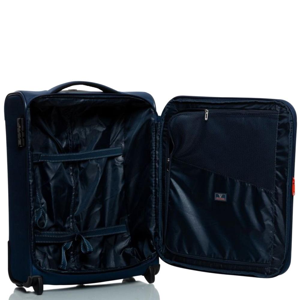 Темно-синий чемодан 55х40х20-23см Roncato Jazz с замком блокировки TSA