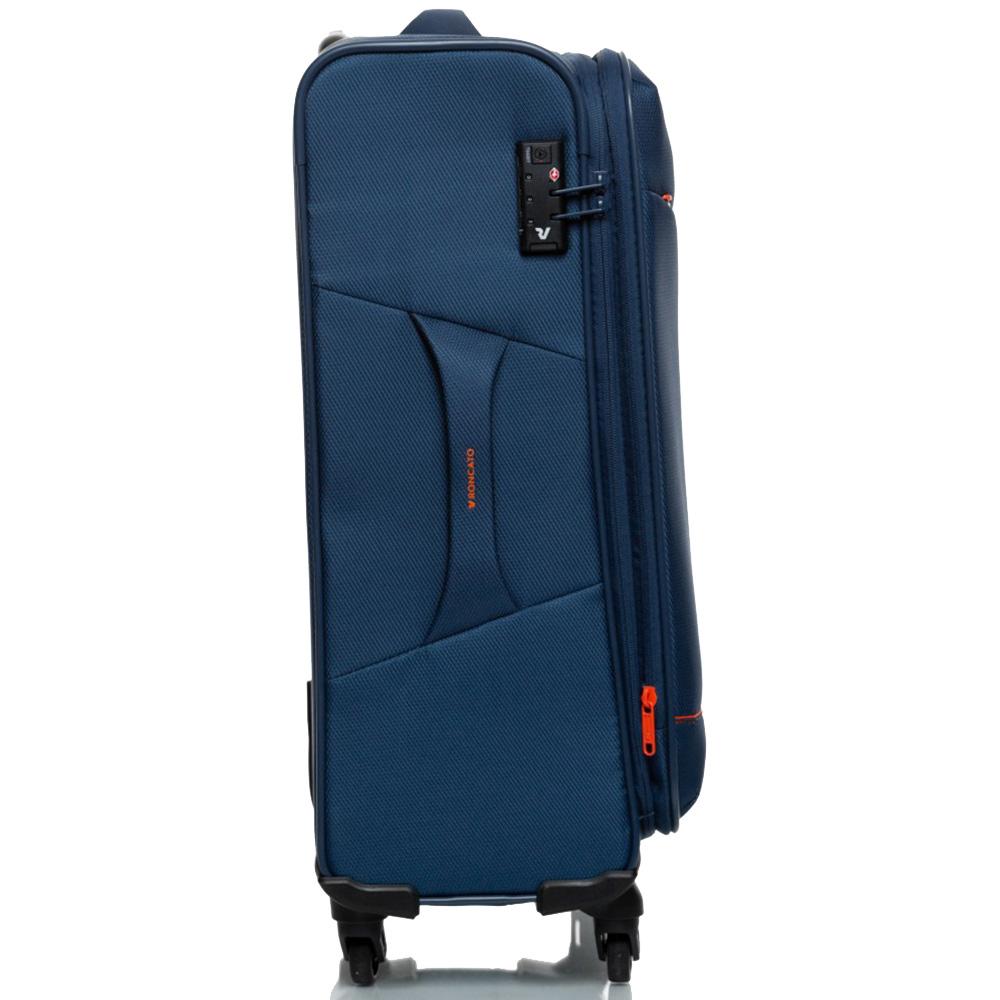 Темно-синий чемодан 66х42х26см Roncato Jazz с функцией расширения