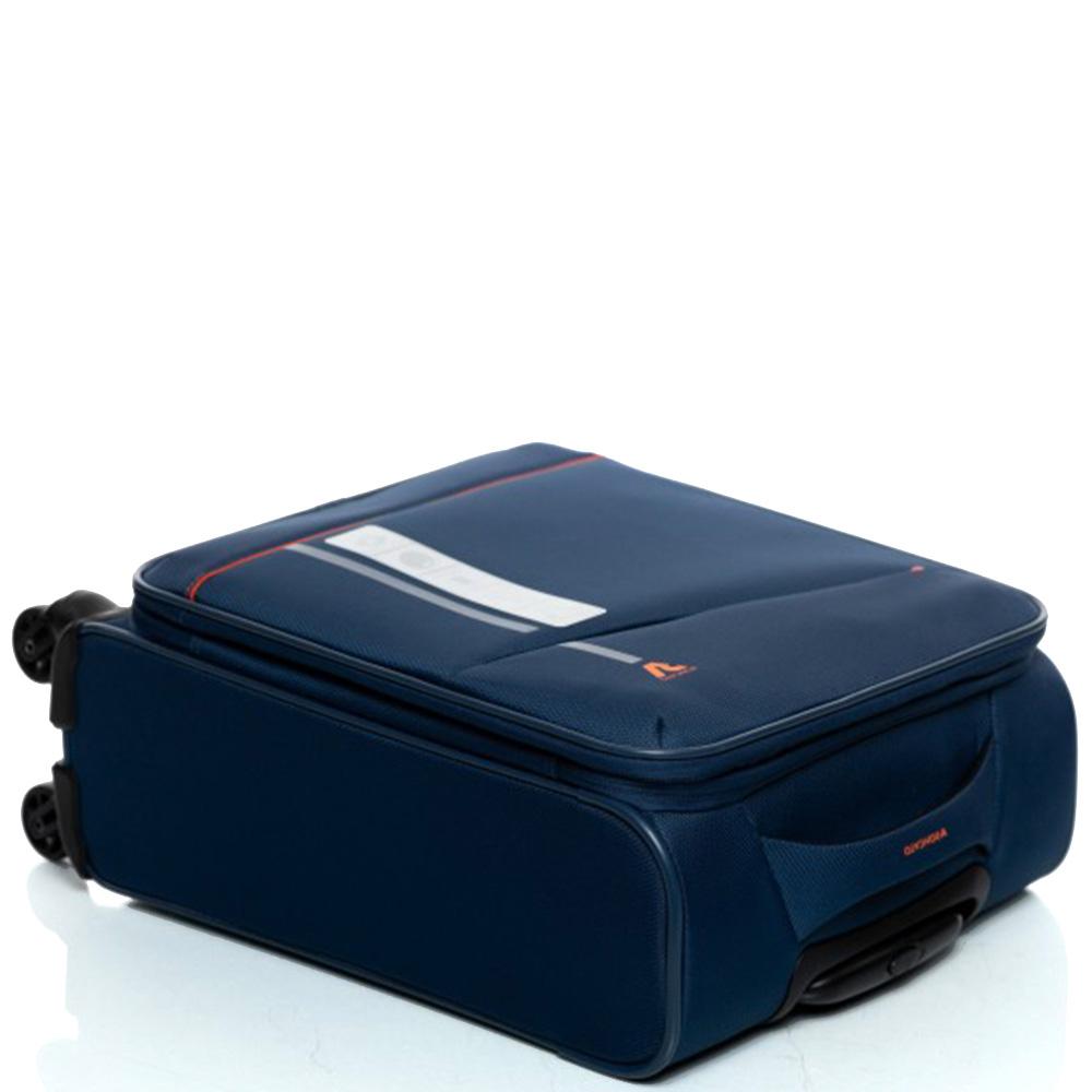 Синий маленький чемодан 55х35х20см Roncato Jazz с функцией расширения