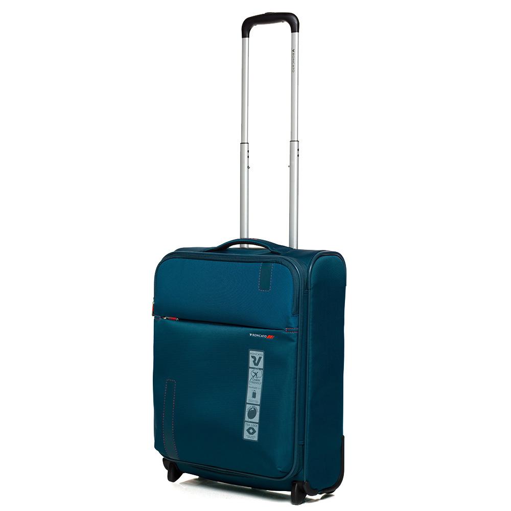 Маленький дорожный чемодан 55х40х20-23см Roncato Speed синего цвета с функцией расширения