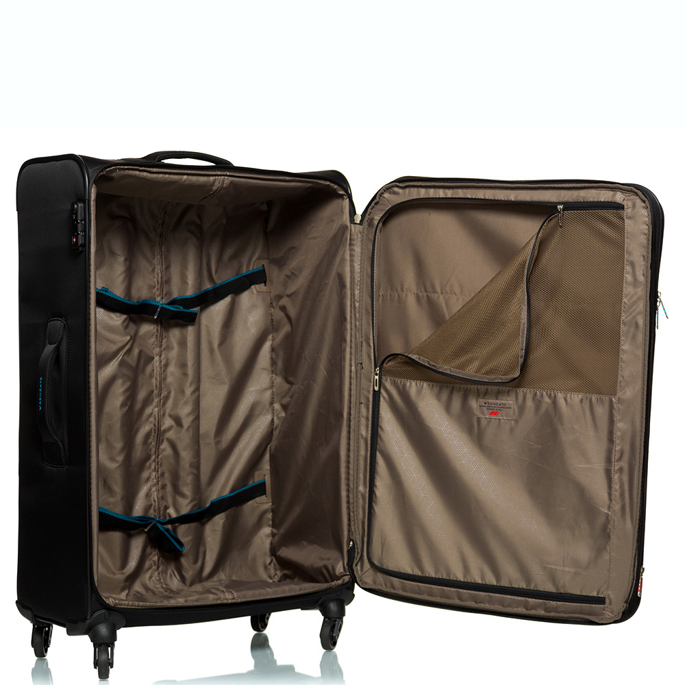 Большой дорожный чемодан 78х48х29-32см Roncato Speed черного цвета 4-х колесный