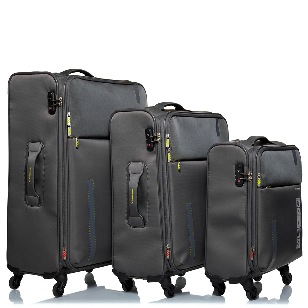 Дорожный чемодан среднего размера 67х44х27-31см Roncato Speed цвета антрацит 4-х колесный