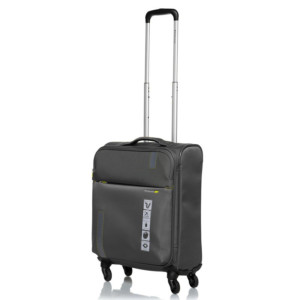 Маленький дорожный чемодан 55х40х20-23см Roncato Speed цвета антрацит с функцией расширения
